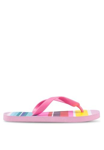 OVS 粉紅色 條紋拖鞋 6BD76SHA0BE68EGS_1