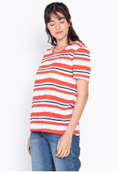 MARKS & SPENCER multi Striped Round Neck Short Sleeve T-Shirt 1480EAA763AB77GS_1