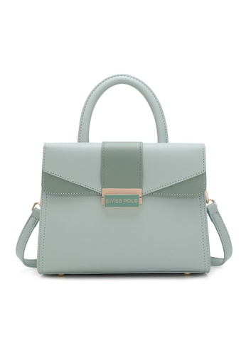 Swiss Polo green Faux Leather Top Handle Bag 08774AC541E306GS_1