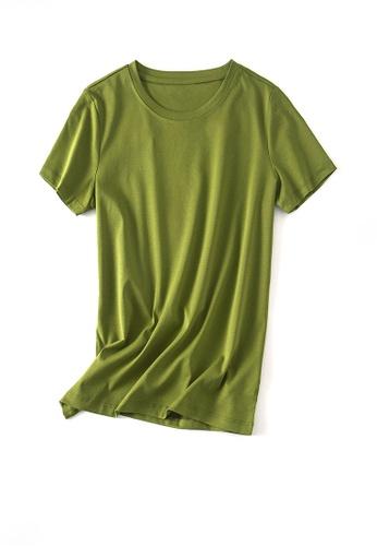 Twenty Eight Shoes green VANSA Round Neck Mercerized Cotton Short-sleeved T-Shirt VCW-Ts1902U 5E1EBAAF522390GS_1