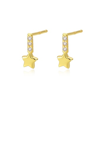 Glamorousky white 925 Sterling Silver Plated Gold Simple and Delicate Star Earrings with Cubic Zirconia 1ADF8ACD64A39EGS_1