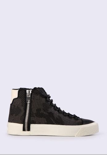 Diesel black S-Quest Knit 118 High-Top Sneakers 1AF61SH32A207DGS_1