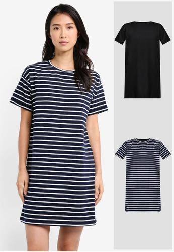 ZALORA BASICS black and multi and navy 2 Pack Essential T-Shirt Dress ZA274AA0JFNPSG_1
