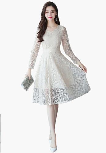 Halo beige A/W Slim Lace Dress 17B4FAA23EC1D0GS_1