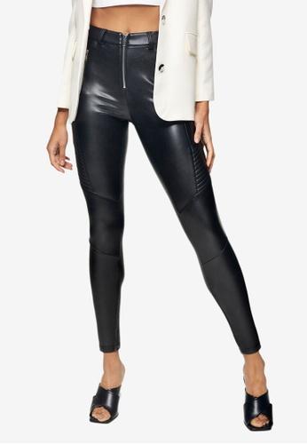 TOPSHOP black Black Biker Pu Trousers 13995AAD8F561FGS_1