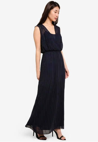 Dorothy Perkins navy Petite Embellished Maxi Dress DO816AA0RJQAMY_1