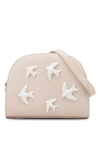 小鳥zalora 折扣碼貼花半月型斜背包, 包, 斜揹包