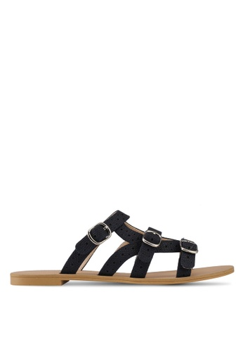 Something Borrowed black Sandals With Strap Details 5B82FSH2BC7279GS_1