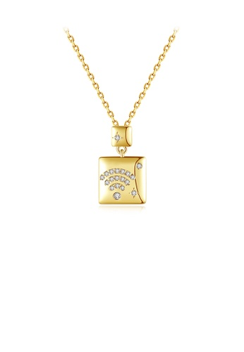 Glamorousky white Fashion and Simple Plated Gold Geometric Square Pendant with Cubic Zirconia and Necklace DF118AC8B14203GS_1