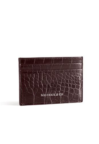 Maverick & Co. brown Maverick & Co. Croc-Embossed Credit Cardholder - Brown F5CD0AC2F6AE2FGS_1