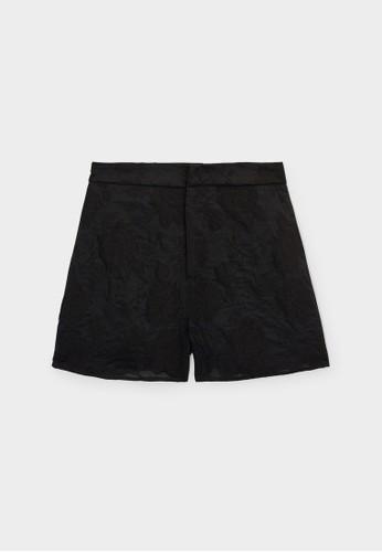 Pomelo black Flower Print Shorts - Black D18E9AA7ADB6B4GS_1