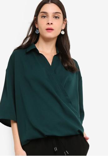 ZALORA green Overlap Shirt 15347AA6229E90GS_1