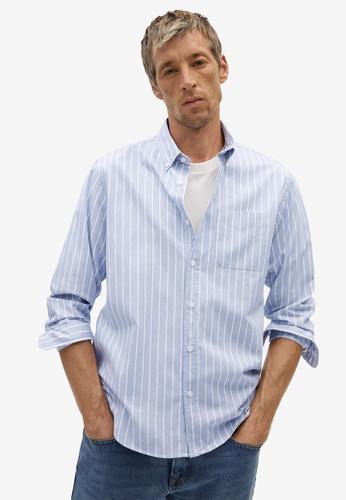 Mango Man blue Regular Fit Striped Cotton Shirt 0C8E1AA0275B92GS_1