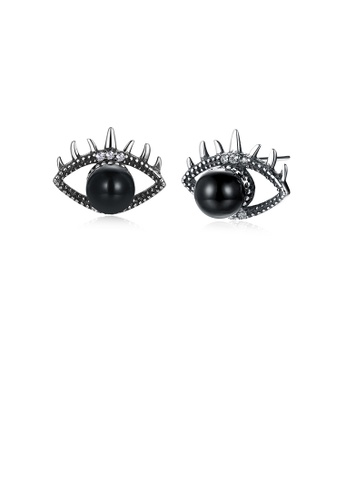Glamorousky black 925 Sterling Silver Fashion Creative Eye Stud Earrings with Black Pearl and Austrian Element Crystal 73DA3AC8D89F92GS_1