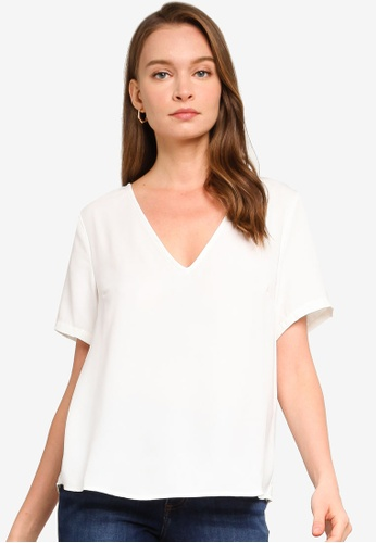 REUX white Lee V Neck Tee 15F63AACE9732AGS_1