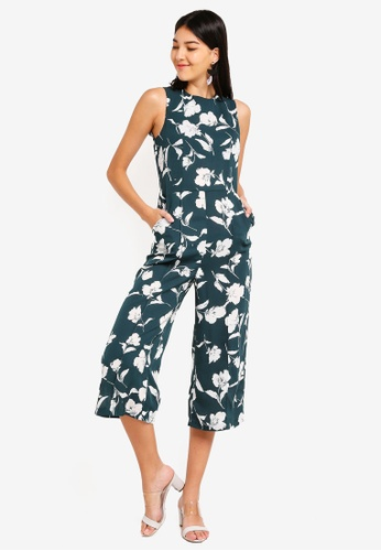ZALORA green and multi Sleeveless Jumpsuit 1D368AA2FE433DGS_1