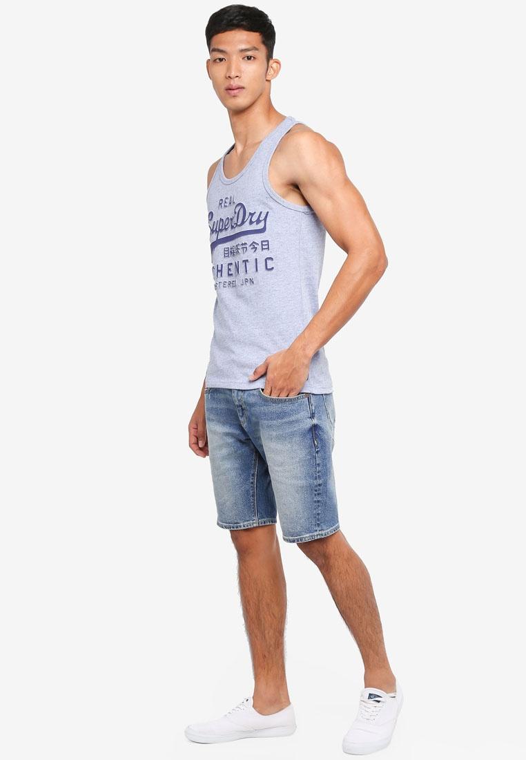 Athntc Vntge Blue Print Vest Superdry Pale Grindle Emboss daRxwa