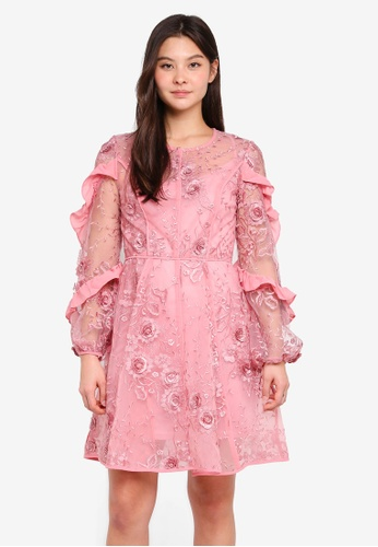 True Decadence pink Long Sleeve Dress With Ruffle Details 7BCD9AAEDFD56CGS_1