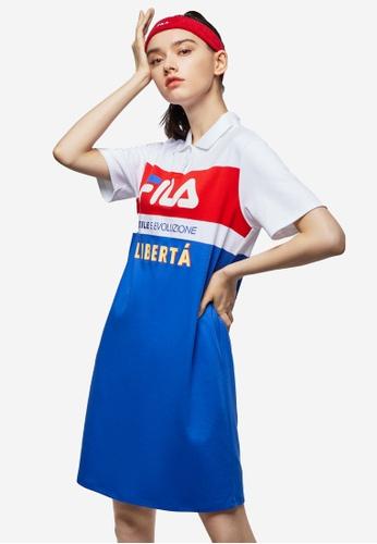 FILA white FILA Logo Colour Blocks Cotton Polo Dress AE45AAA254CA15GS_1