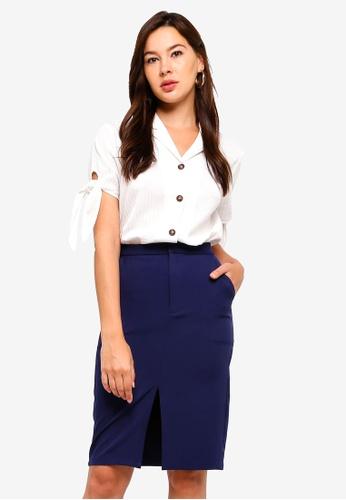 ZALORA white Resort Shirt With Tie Sleeves B12CFAAFF068EAGS_1