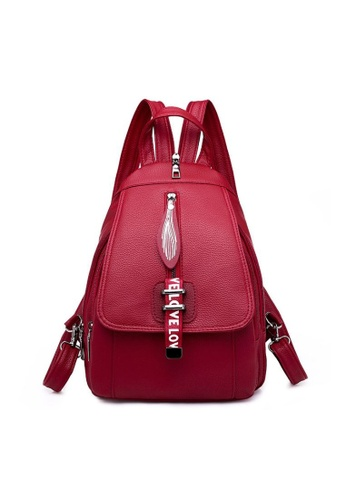 TCWK red TCWK Korea Style Women Fashion Backpack - Red 433A7AC8EB37EEGS_1