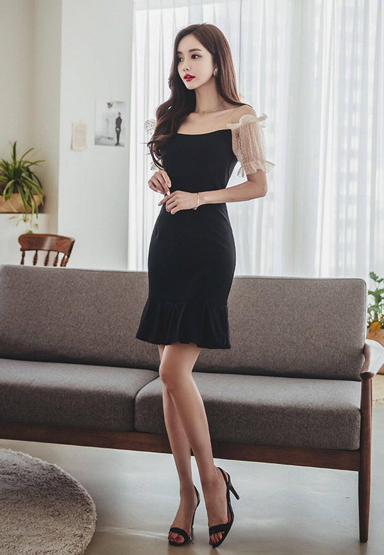 Black Piece A060429 One Off Black Shoulder Sunnydaysweety Fishtail Dress 2018 New BYwxnw5