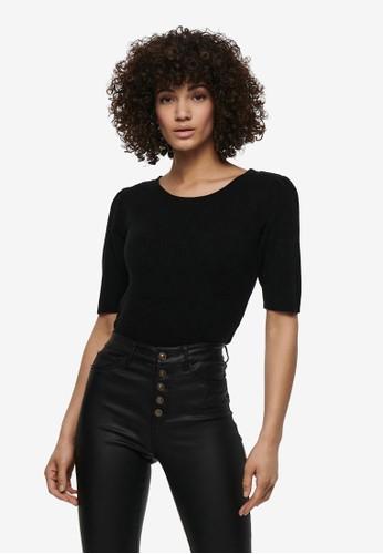 JACQUELINE DE YONG black Lina Puff Sleeve Top 7BF67AA446A982GS_1