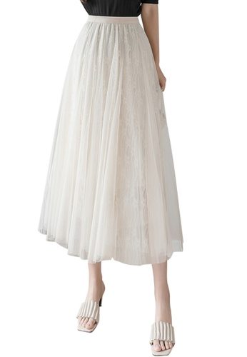 Halo beige Layered Lace Net Yarn Skirt 05580AAADFFEFBGS_1