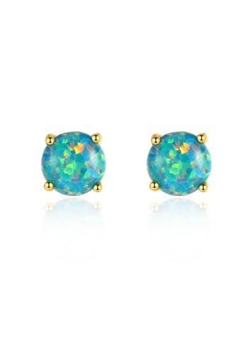 SUNRAIS gold High quality Silver S925 gold round earrings 7940DAC6951F56GS_1