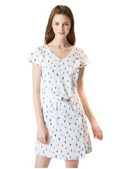 OUWEY歐薇 幾何印花V領洋裝