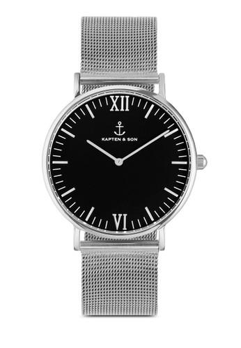 Ca京站 espritmpus Silver Black Mesh 40mm, 錶類, 飾品配件