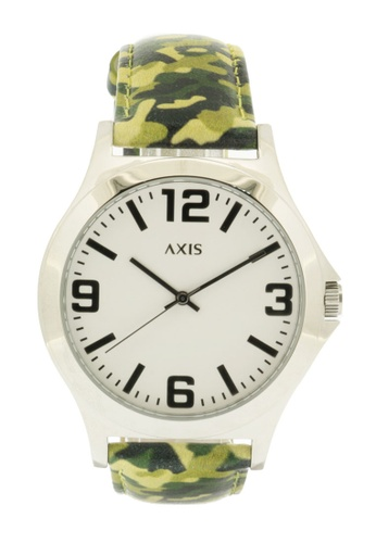 Axis white and green and silver Camouflage Leather Strap Watch AK3256-1303 AX644AC27IVCPH_1