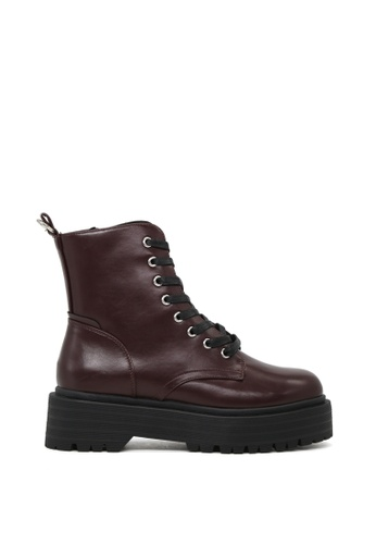 RAG&CO red Lace Up Chunky Sole Ankle Boots with Side Zipper RCSH1744 B038DSHF21AC42GS_1