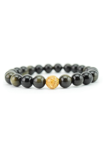 Memento Collection black and gold Golden Obsidian Bracelet with Gold Foil ME060AC0SI5NMY_1
