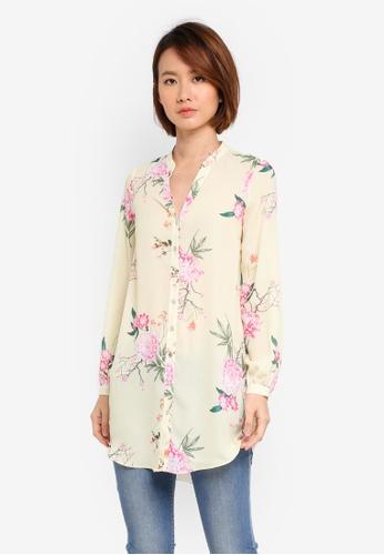 Wallis yellow Petite Lemon Longline Floral Print Shirt C2171AAFEE9BB1GS_1