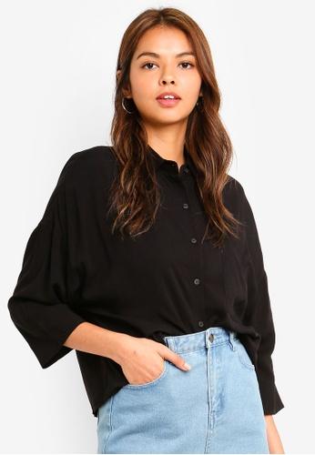 Cotton On black Rebecca Chopped Shirt EE291AADDEBC1EGS_1