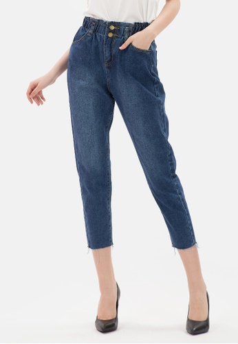 MKY Clothing blue and navy MKY Two Gold Botton Ankle Jeans 736A8AA37845C6GS_1