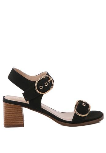 London Rag 黑色 黑色大扣方跟凉鞋 FCADESHDB8500FGS_1