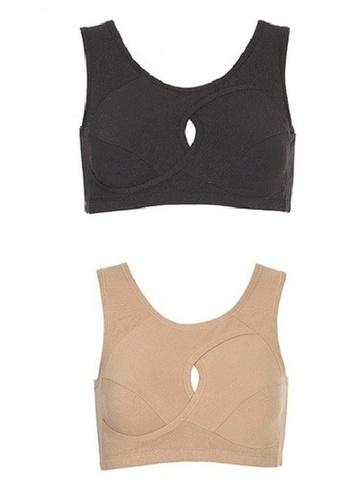 YSoCool black and beige Seamless Firming Sport Sleeping Bra Black/Beige - Set of 2 Pcs 6E39FUS63BBA41GS_1