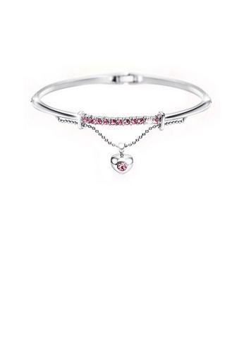 Glamorousky silver Pink Austrian Element Crystals Heart-shaped Bangle DA935AC87ACCEFGS_1