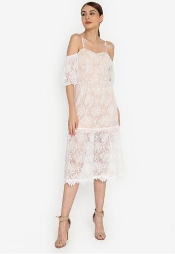 ZALORA OCCASION white Cold-Shoulder Corded Lace Midi Dress 79351AAB1EB446GS_1