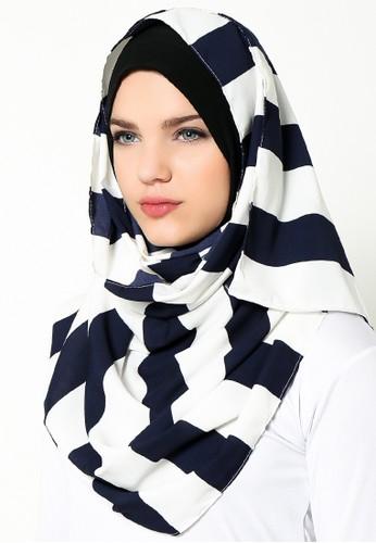 Arela Brits Stripes Pashmina Cotton - White Navy