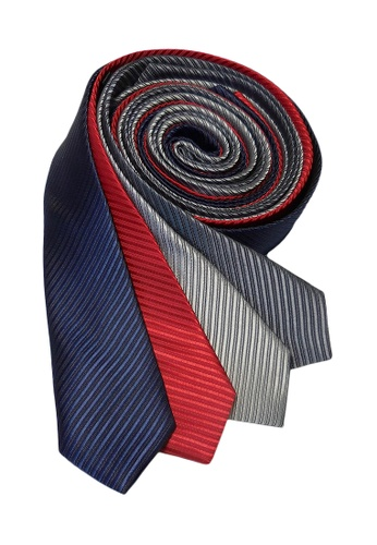 Well Suited grey and red and blue and silver Solid Stripe Slim Necktie Combo D EB812ACA4F8B6AGS_1