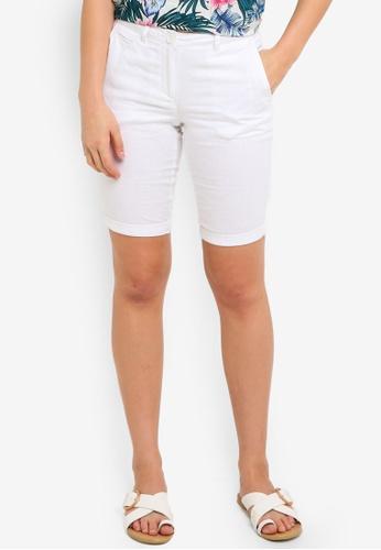 Dorothy Perkins white White Linen Viscose Knee Shorts BEAFCAA823A4F3GS_1