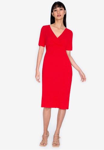 ZALORA BASICS red Short Sleeve Shirred Dress D771CAA443A79FGS_1