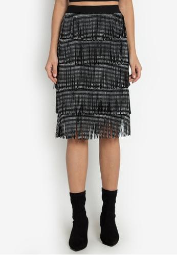 NOBASIC black Rivets Fringed Midi Skirt 4C168AAA352340GS_1