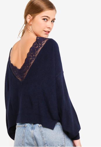 2408493e187a Something Borrowed navy Oversized Sweater With Back Lace Trim  5AAC1AA7E04FB9GS_1