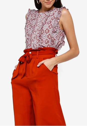 ZALORA 粉紅色 and 多色 Ruffled Button Down Shirt 3D680AA61A3464GS_1