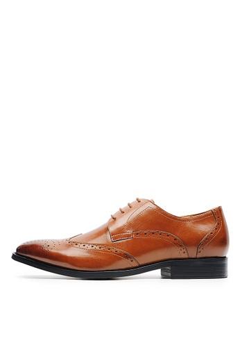 法式雕花。繫帶打蠟牛皮esprit home 台灣牛津鞋-04704-棕色, 鞋, 皮鞋