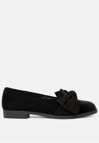 London Rag black Black Velvet Loafers with Bow SH1775 C9B87SH46F7AEFGS_1